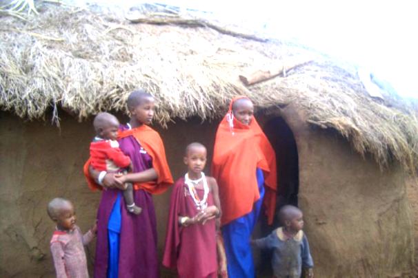 Maasai family in village
