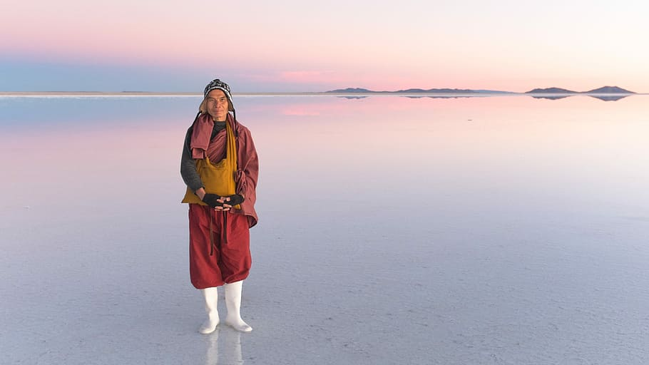 Man on salt flats in Bolivia