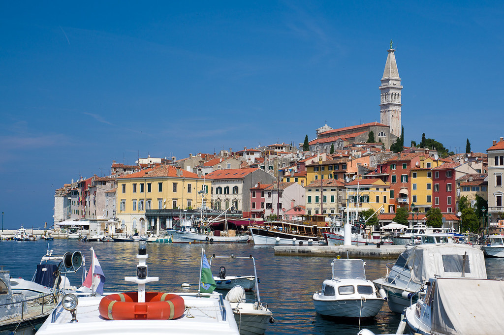 Rovinj Croatia with boats in the foreground