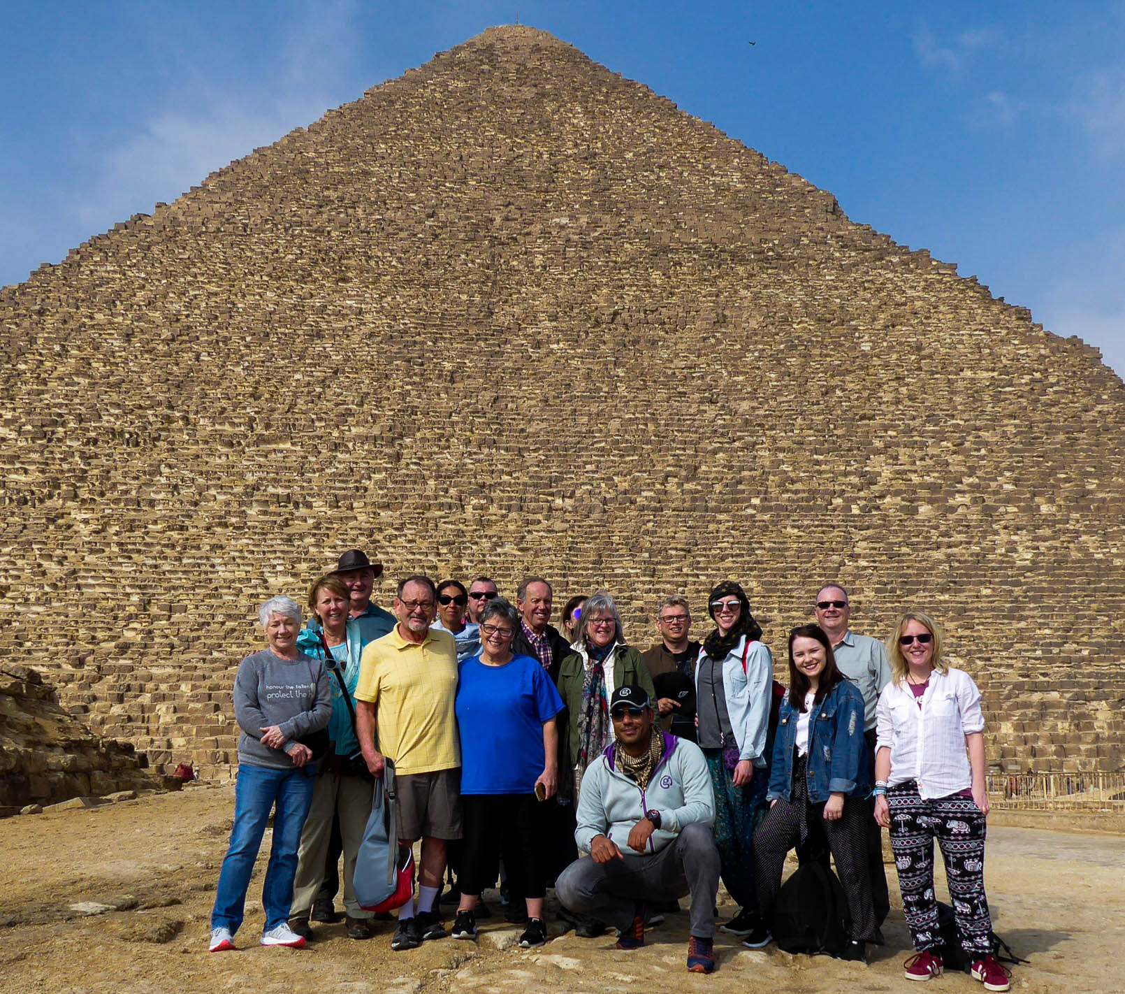 group in front of pyramid in giza