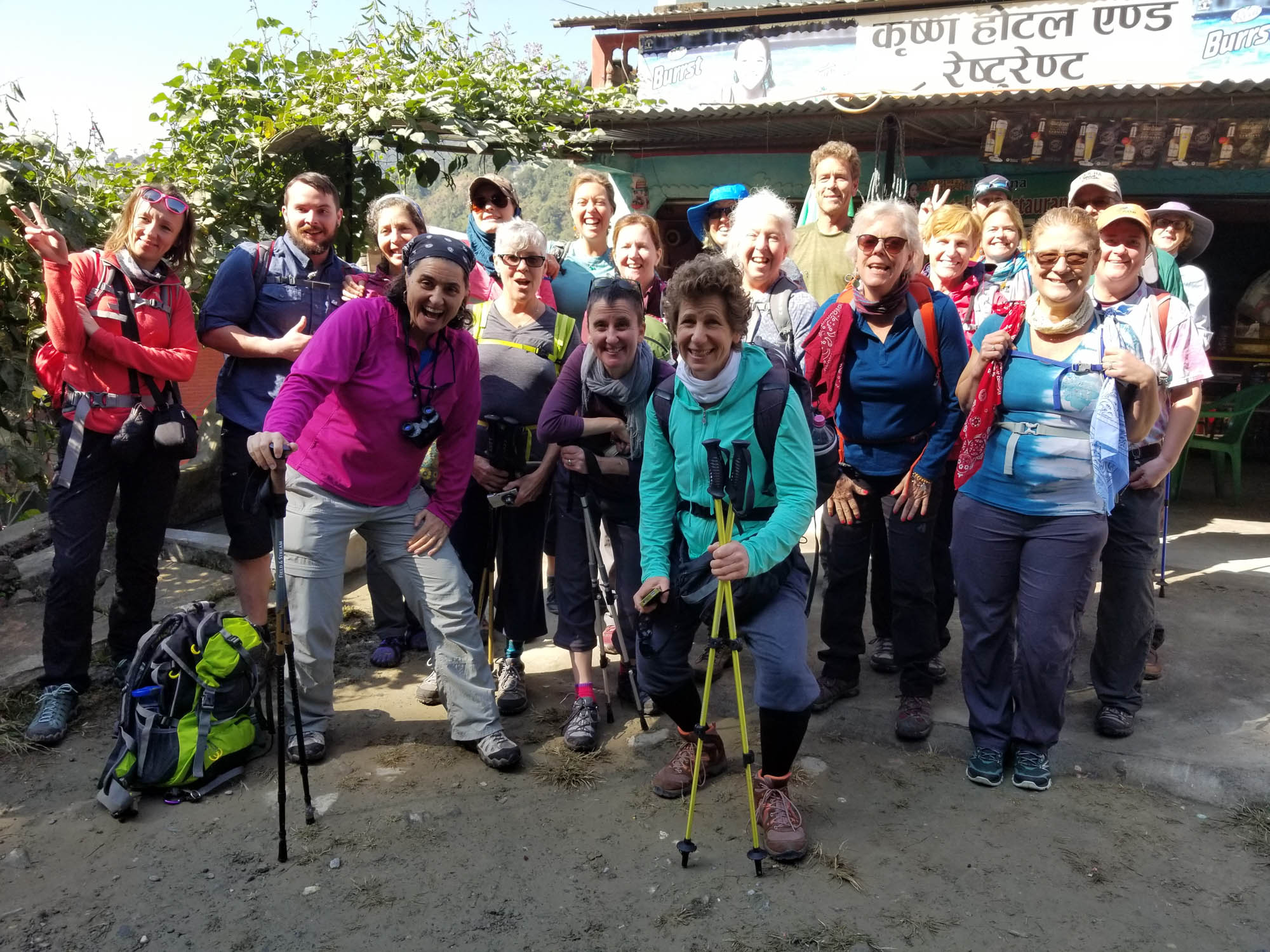 group ready to go hiking in the himalayas