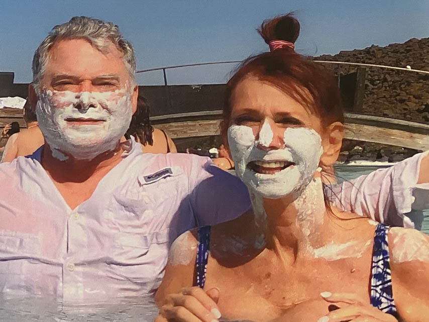 Couple with skin care masks at Blue Lagoon in Iceland