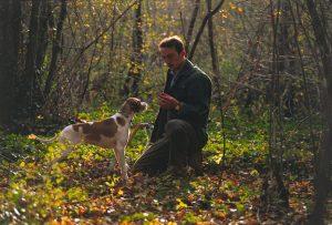 Man and dog truffle hunting