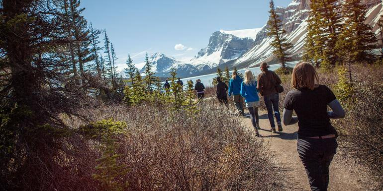 Group walking a trail with snow capped mountains