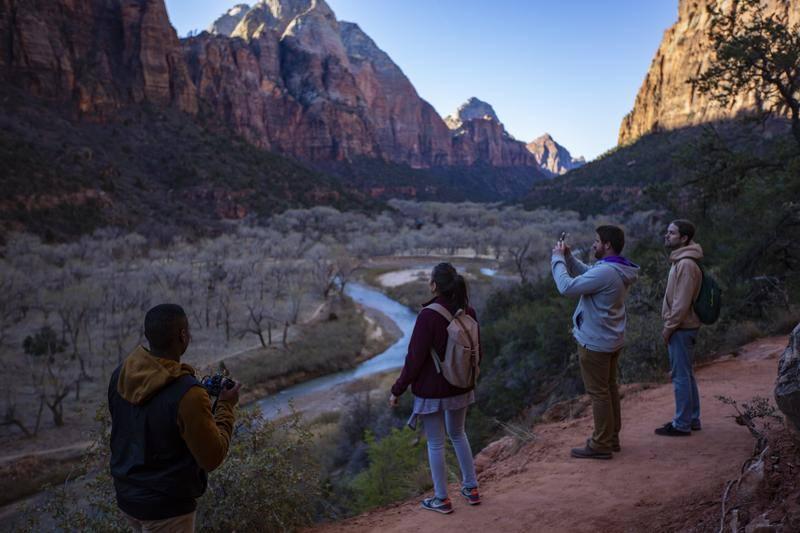 People hiking in Zion National Park Utah