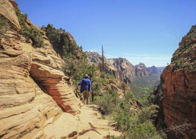 Person hiking in Utah national park