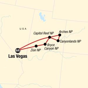 Map of utah big 5 tour