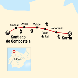 map of tour camino de santiago