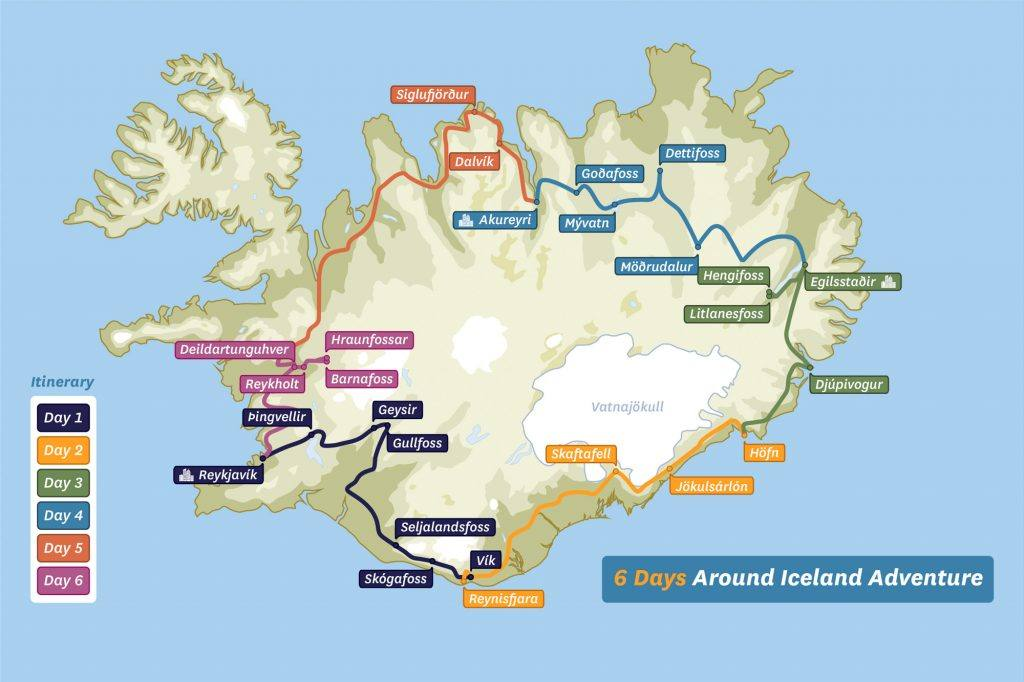 map of 6 day around iceland tour