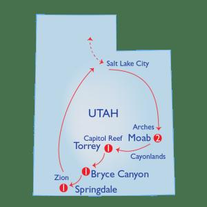 Map of Mighty 5 hiking trip in Utah
